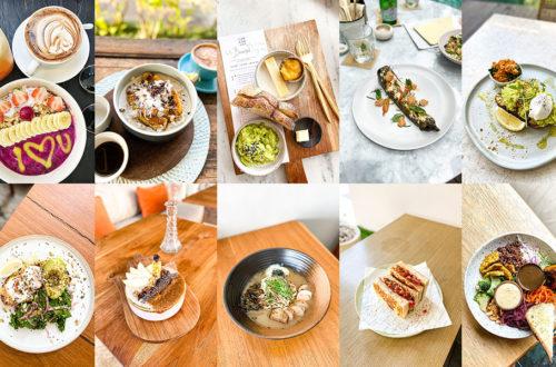 Collage van ontbijt en lunch restaurants in Canggu Bali
